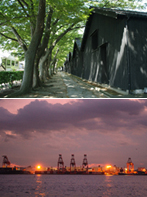 明治の米倉(酒田港山居倉庫) 現代の港湾風景(東京都大井ふ頭)